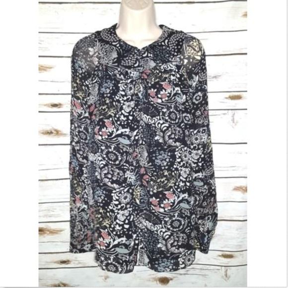 afacd403d238 Chloe Black Floral Print Blouse 100% Silk Chiffon
